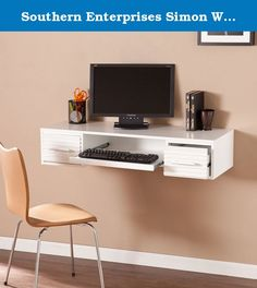 Southern Enterprises Simon Wall Mount Desk in White. Transitional to contemporary style. Custom-height floating desk. Two drawers, one pull-out keyboard tray and spacious writing surface. Sturdy metal cleat system. Ergonomic sit or stand desk. One cord management opening. Fresh white hue and textured drawer fronts combine with sleek brushed nickel hardware. Custom home office or craft station anywhere desire, or mount below television for an easy-access media shelf. Brushed nickel finish....