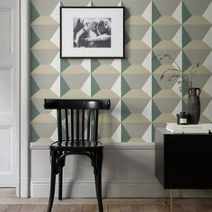 Ilse is a wall mural that is like a soft textile in its personality, projecting a graphic sense of Trompe l´oeil in comfortable and warm tones. Interior Exterior, Wall Murals, Studio, Chair, Wallpaper, Green, Projects, Furniture, Design
