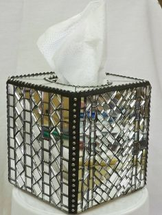 Items similar to Tissue Box Cover with Mosaic Mirror Tiles on Etsy Mosaic Tray, Mirror Mosaic, Mirror Tiles, Mosaic Tiles, Mirrors, Stained Glass Mirror, Fused Glass Art, Tissue Box Covers, Tissue Boxes