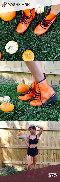 "Dr. MARTENS  Punk Orange Classics Perfect for fall! Condition: EUC, very minimal wear, no issues  Model:  34A  24"" waist  5'7"" 00/XS   TRADING INSTAGRAM: @EmilyHedicke  Photos by Posher @JadedAndTraded Dr. Martens Shoes Lace Up Boots"