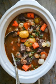 These French Recipes Are Almost Better Than A Trip To France recipe: http://theviewfromgreatisland.com/2014/10/slow-cooker-crock-pot-beef-bourguignon.html