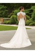 Lace cap sleeves satin A line wedding dress wd10378