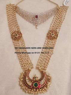 Presenting a light range Diamonds choker Jhumke Bajubandh and Kundan work pearls Detachable long haaram. Visit for latest designs. Contact no 8125 782 15 November 2018 Gold Jewellery Design, Bead Jewellery, Beaded Jewelry, Gold Jewelry, Handmade Jewellery, Pearl Jewelry, Jewelery, Glass Jewelry, Pearl Necklace Designs
