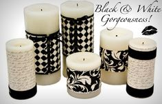 decoupage coordinating papers onto candles for any color scheme