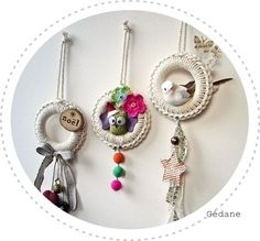 Crochet over plastic rings and embellish your way!..These are really cute ornaments!
