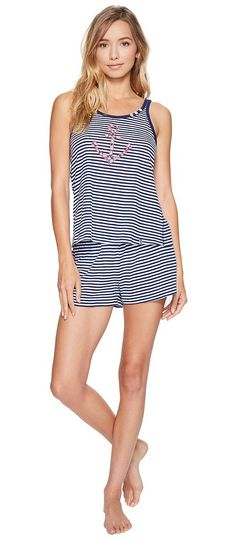 Jane & Bleecker Navy Nautical Shorts Set 3541351 (Navy Nautical Stripe) Women's Pajama Sets - Jane & Bleecker, Navy Nautical Shorts Set 3541351, 3541351-460, Apparel Sets Sleepwear, Sleepwear, Sets, Apparel, Clothes Clothing, Gift, - Fashion Ideas To Inspire