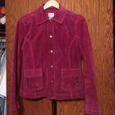 Chico's suede leather jacket Very nice with cute pockets burgundy color Chico's Jackets & Coats Utility Jackets