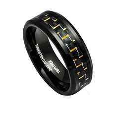 King Will 8MM Mens Tungsten Ring Wedding Band Black Gold Carbon Fiber Inlay Beveled Edges