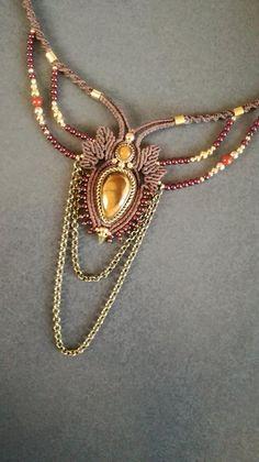 Collier diadème, collier macramé, collier oeil de tigre, bijoux pierre fine,  bijoux 4a803e962fb8
