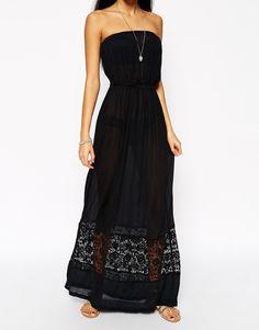 Image 3 -ASOS Broderie Hem Bandeau Maxi Beach Dress