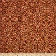 Tis The Season Mini Print Gold/Red from @fabricdotcom  Designed by Ro Gregg for Paintbrush Studios for Fabri-Quilt, this cotton print fabric is perfect for quilting, apparel and home decor accents. Colors include metallic gold and red.