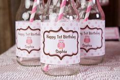 Owl Water Bottle Labels Birthday Party - Pink & Brown
