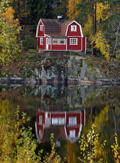 Overlooking The Lake - A cottage on Upper Lake Rudan in Haden, Sweden ~ Photo by. Swedish Cottage, Red Cottage, Swedish House, Lake Cottage, Cozy Cottage, Cottage Style, Red Houses, Little Houses, Cute House