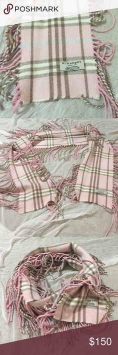 """Fabulous cashmere Burberry scarf! Fabulous cashmere Burberry scarf with fringe on both sides. Perfect for BOHO look or just throw on to keep warm. Pastel pink with brown and cream Burberry checks. Stunning! 6.5"""" W X 53.5"""" long. Can be wrapped like infinity or tied in front.  Burberry Accessories Scarves & Wraps"""