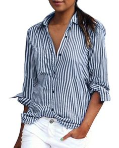 0748456e14cd Blue and white vertical stripes give a slimming professional look to this  classic cotton button-up shirt.