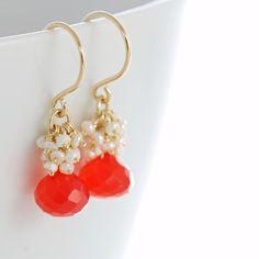 Bright Orange Gemstone Earrings with Seed Pearl by aubepine