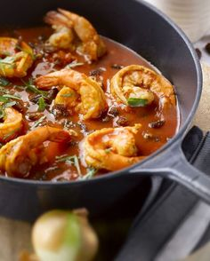 Marokkaanse scampi Seafood Dishes, Fish And Seafood, Asian Recipes, Healthy Recipes, Ethnic Recipes, Garam Masala, Prawn, Thai Red Curry, Spaghetti