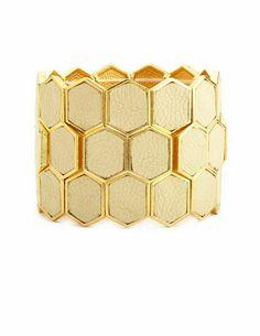Metallic Honeycomb Stretch Bracelet: Charlotte Russe