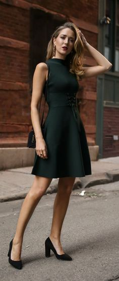 30 DRESSES IN 30 DAYS: FRIENDSGIVING //  Emerald green fit-and-flare mock neck corset dress, black suede crossbody bag, black suede pointed-toe pumps, statement earrings, red lip {Maje, Zara, YSL, Saint Laurent, fashion blogger, street style, fall fashion