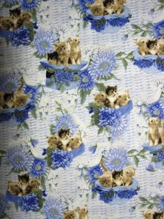 Kittens in Hats-Blue yards- Cat Fabric Ironing Board Covers, Ironing Boards, Iron Board, Cat Fabric, Kittens, Cats, Fabrics, Blue, Painting