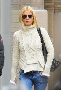 Gwyneth Paltrow donning a quirky twist in the classic aran design. www.sweatershopuk.com