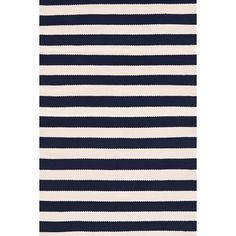 """Coastal-cool style is a breeze with our lightweight, extradurable indoor/outdoor rugs. And did we mention theyre washable and mildew resistant?   • Stripes run the width of the rug and are 1.5"""" wide"""