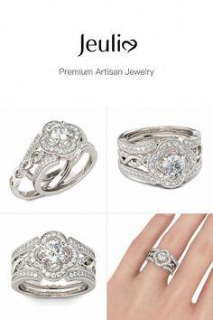 75b8f3ea69247e JEULIA Stunning Halo Wedding Ring Set For Women Interchangeable Twist  Design, Sterling Silver