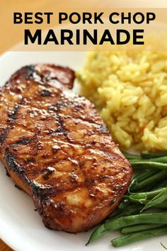 The Best Pork Chop Marinade For Grilling Six Sisters' Stuff. This Is Hands-Down The Best Pork Chop Marinade Out There Grilled Pork Chops Always Turn Out Juicy With This Recipe That Uses Ingredients You Probably Have In Your Pantry Right Now. Easy Pork Chop Recipes, Pork Rib Recipes, Pork Marinade Recipes, Best Pork Chop Recipe, Grill Recipes, Recipes With Pork Chops, Dinner Recipes, Healthy Recipes, Bbq Pork Ribs