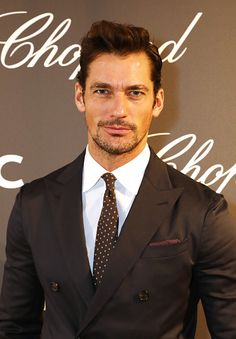 David Gandy attends the cocktail opening of the Chopard exhibition 'LUC L'art d'une Manufacture' at Phillips Gallery on October 11 2016 in London...