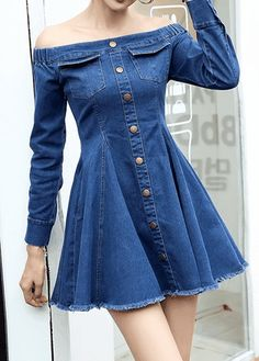 High Waist Button Embellished Bardot Dress USD33.17 Style :Casual Pattern Type :Solid Neckline :Boat Neck Sleeve Style :Off The Shoulder Sleeve's Length :Long Sleeve Silhouette :High waist Material :Denim Dress Length :Mini Package Contents : 1 x Dress, Without Accessories