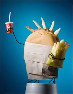 Food Art - Liberty Statue made of fast food (burger and french fries)