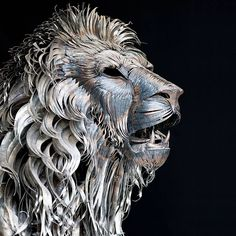VR-Zone Lion made from over 4000 pieces of hammered scrap metal by Selcuk Yilmaz