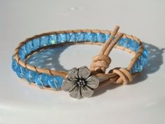 Turquoise Beaded Leather Bracelet, Flower Button by Tina610