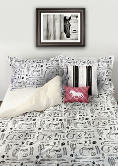 Horse Show Essentials Equestrian Bedding Set - comforter or duvet cover perfect for the horse lover! hunter jumper and showjumping style with pink plaid trotting pony pillow