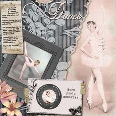 ballet memories digital scrapbooking layout with cut out