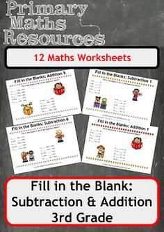 Fill In The Blanks: Addition and Subtraction Worksheets - 3rd Grade