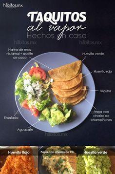 Tacos al vapor caseros Vegan Mexican Recipes, Veggie Recipes, Baby Food Recipes, Vegetarian Recipes, Cooking Recipes, Healthy Recipes, Healthy Food, Mexican Cooking, Vegan Meals