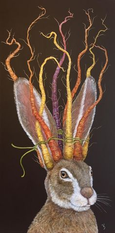 The Crown of Carrots (by Vicki Sawyer) Art Et Illustration, Illustrations, Lapin Art, Deco Champetre, Drawn Art, Rabbit Art, Bunny Art, Whimsical Art, Animal Paintings