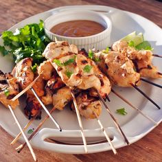 Chicken Satay with Peanut Dipping Sauce - great party food | -CAB