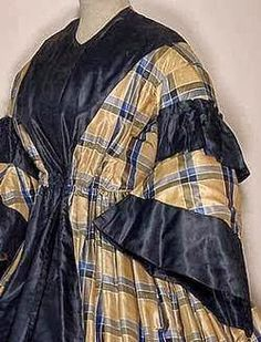 In the Swan's Shadow: Plaid silk wrapper, late 1850s-early 60s