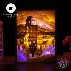 Lighting paper carving lamp counter world 3D living room bedroom bedside decoration diy creative minimalist modern romantic LED
