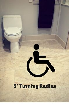 Accessible bathroom - Wheelchair access and turning radius. Learn 7 features of an accessible bathroom in this article. http://blog.innovatebuildingsolutions.com/2014/11/15/inspiring-lives-universal-accessible-design-education-universal-design-living-laboratory/ #InnovateBuilding