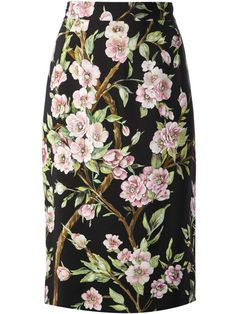 Multicolour floral print skirt from Dolce & Gabbana featuring a high waist, a concealed fastening, a floral print, a straight fit and a straight hem. £481.95 by farfetch