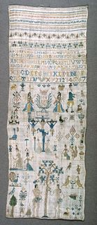 Bands of pattern at top, then alphabets, three motifs including two women spinning and one monkey, crucifixion and Adam and Eve.