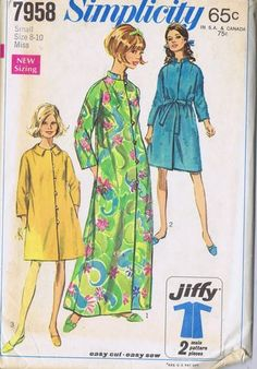 Vintage Robe Sewing Pattern Simplicity 7958 Sz 8 10 Bust 31 32 Hip 33 34 Uncut | eBay