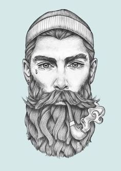 Resultado de imagen para sketch beard tattoo