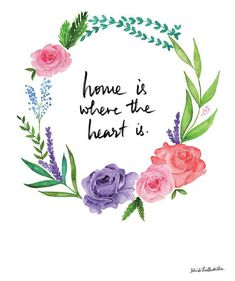 "drawingmyselfonepixelatatime: ""Home is Where the Heart is Floral Wreath - Handmade Ink Illustration Print "" Me Quotes, Motivational Quotes, Inspirational Quotes, Home Is Quotes, Positive Quotes, Grafiti, Brush Lettering, Where The Heart Is, Quotations"