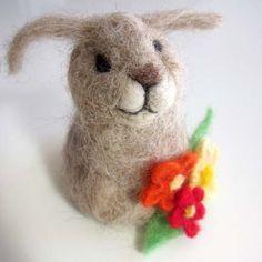 Easter bunny needle felted in Alpaca