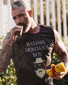 Badass Momma's Boy Tee Vintage Black Rockabilly male portrait in tshirt beard and smoking cigar Daniel Sheehan, Cigar Men, Older Men, Good Looking Men, Beard Styles, Bearded Men, Gorgeous Men, Harley Davidson, Sexy Men