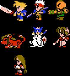 Cast of Final Fantasy VII in 8-Bit NES Form by Shadowlugia2009